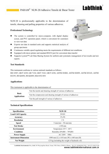 Labthink Adhesive Shear Tester for Adhesive Tapes