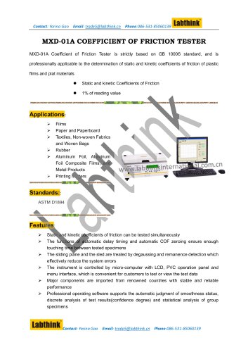 Labthink Aluminum Surface Coefficient Of Friction Measuring Device