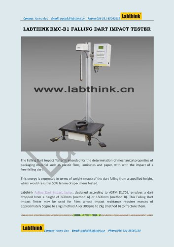 Labthink Falling Dart Impact Tester to Measure Impact Resistance of PE Films and Laminates