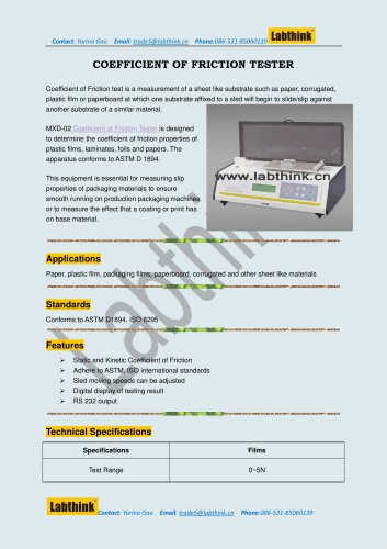 Labthink Friction Tester measure static and dynamic COF on thin polyester and other films