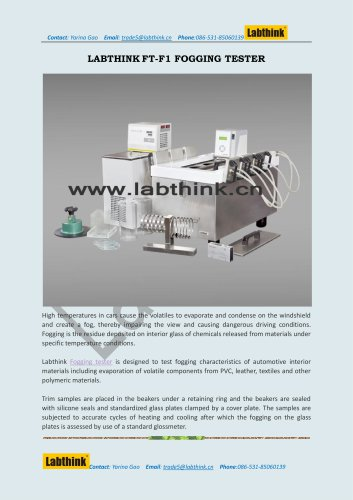 Labthink FT-F1 Fogging Test Apparatus under High Temperature for Automotive Interiors