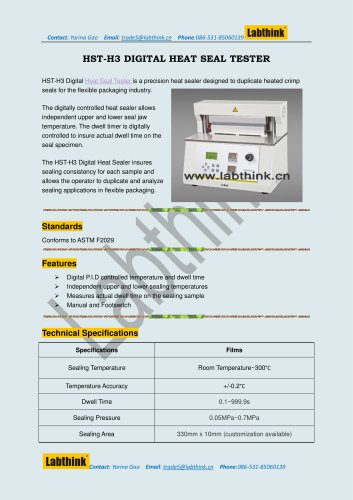 Labthink Heat Seal Tester to Measure Heat Seal Ability of thin polymeric film