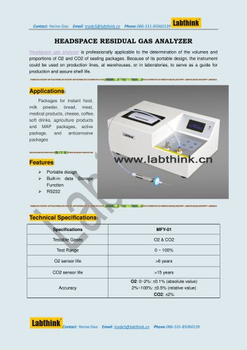 Labthink HGA-02 Oxygen Measurement Instrument to Measure volumes and proportions of oxygen in MAp