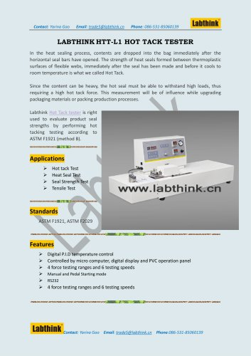 Labthink Hot Tack Tester to measure hot tack strength of thin polymeric film