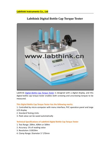 Labthink NJY-20 Torque Testing Instrument for Open and closure force measurement of bottle caps