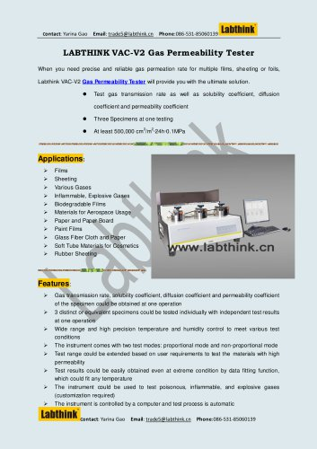 Labthink Oxygen Permeability Test Equipment for Contact Lenses