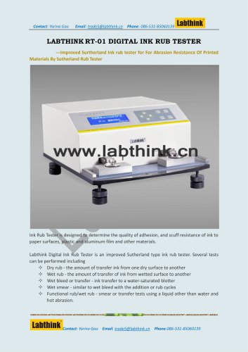 Labthink RT-01 Ink Scuff Resistance Tester for Printing Inks