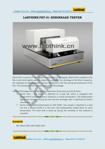 Labthink Shrinkage Test Machine to measure Shrinkage Force and ratio of PE Films and Laminates