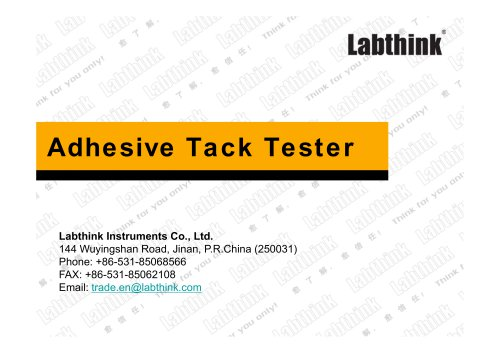 Labthink Stickness Testing Machine for adhesives