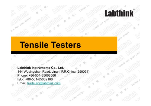 Labthink Tensile Strength Measuring Instrument for flexible materials