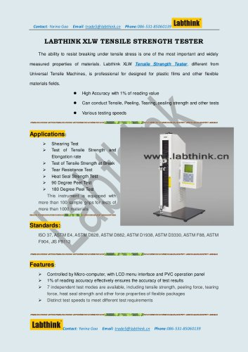 Labthink Tensile Strength Tester to Measure tensile strength of polymer foils