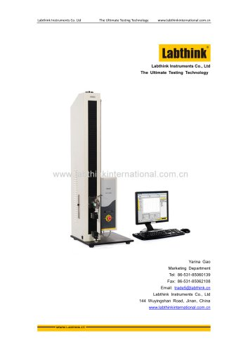 Labthink Tensile Tester used for seal strength testing for pealable bags (tyvek / mylar) and trays (PETG/tyvek)