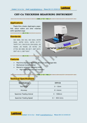 Labthink Thickness Measurement Equipment for Thickness Test of polymer foils
