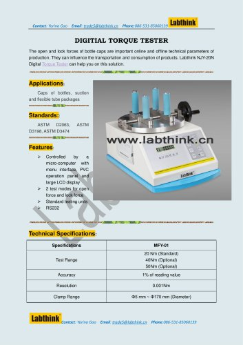 Labthink Torque Test Equipment for Pharmaceutical Bottle Caps
