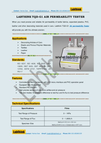 Labthink TQD-G1 Air Permeability Apparatus for textile and Non-wovens