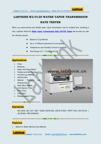 Labthink W3/0120 WVTR tester for Water Vapor Transmission Rate Measurement