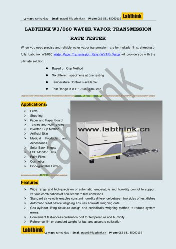 Labthink W3/060 moisture permeation testing equipment for Thin Films and rubber