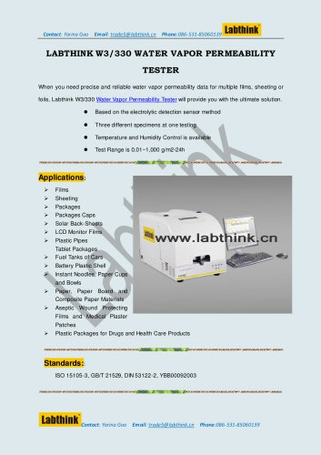Labthink W3/330 Water Vapor Permeability Tester for Blister Packaging