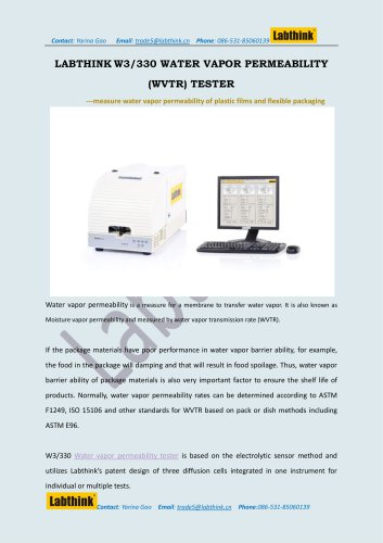 Labthink W3/330 Water Vapor Permeability Tester for Water Vapor Transmission Rate (WVTR) of Solar back sheet