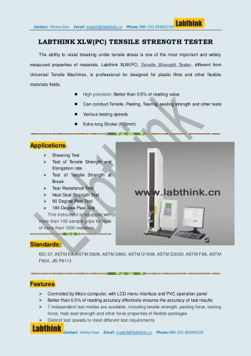 Labthink XLW(EC) universal Tensile tester for Flexible Packaging