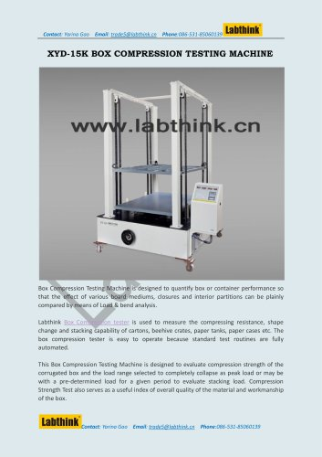 Labthink XYD-15 Compressive Resistance Tester for Carton Boxes