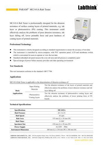 MCJ-01A Rub Tester