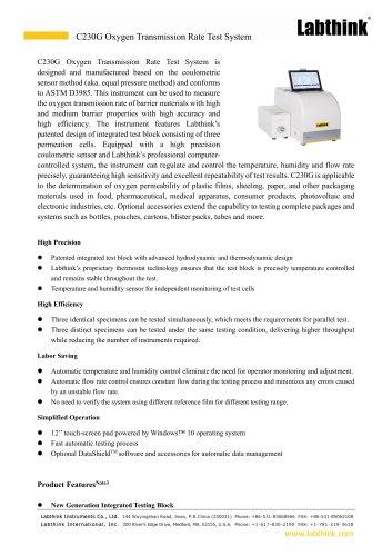 Medical Dressing Oxygen Permeability OTR Measuring Instrument
