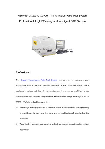 oxygen permeability tester of novel polymer films