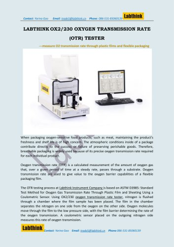 Oxygen Permeation Analyzer for Flat Barrier films