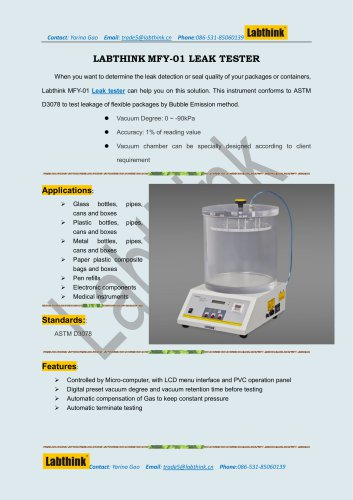 Package Integrity tester for Medical devices packaging