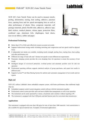 PARAM XLW (EC) Auto Tensile Tester