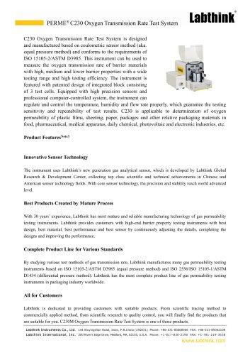 Polypropylene Oxygen Transmission Rate Test Apparatus