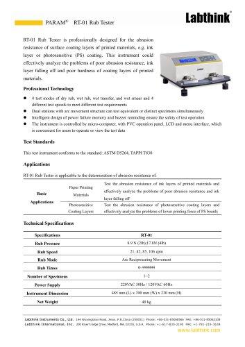 Printed Surface Ink Rub Tester
