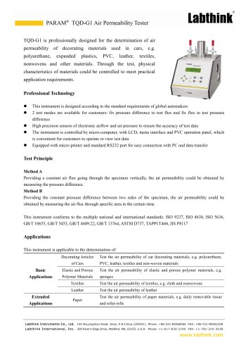 Professional Synthetic Fabric Air Permeability Laboratory Test Machine