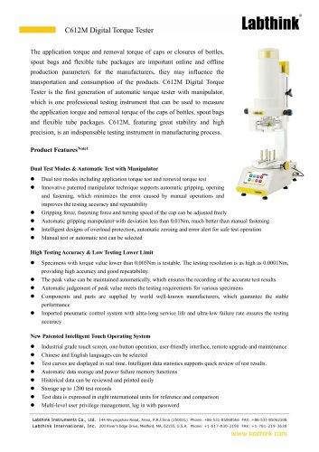 Screw Closure Application And Removal Torque Test Apparatus