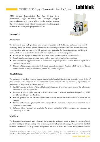 Skin Packing Film Oxygen Transmission Rate Test System