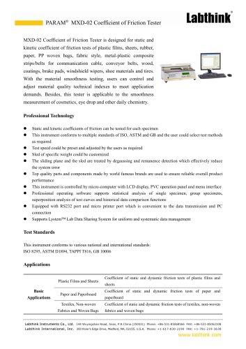 Stationary Plane Friction Laboratory Measuring Equipment