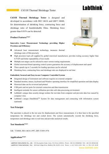 Storage Retention Packaging Film Thermal Shrinkage Tester