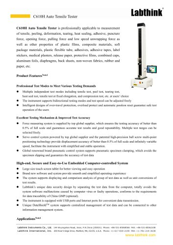 Tensile tester for tensile strength testing, puncture resistance testing