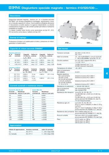 Disgiuntore speciale magneto - termico 410/520/530
