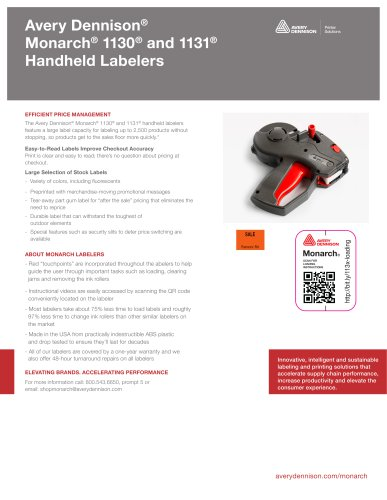 Avery Dennison® Monarch® 1130® and 1131® Handheld Labelers