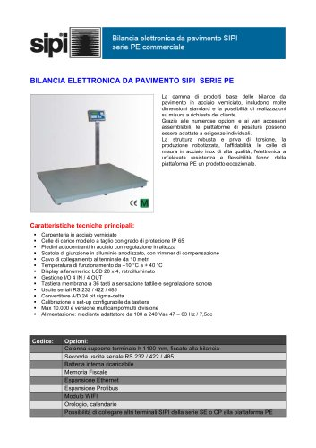 BILANCIA ELETTRONICA DA PAVIMENTO SIPI SERIE PE