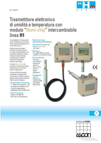 Trasmettitore Elettronico di Umidità e Temperatura con modulo Humi-Chip intercambiabile - Serie H1