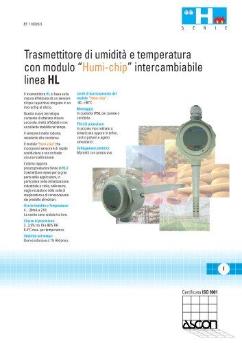 """Trasmettitore di umidità e temperatura con modulo """"Humi-chip"""" intercambiabile. Linea HL"""