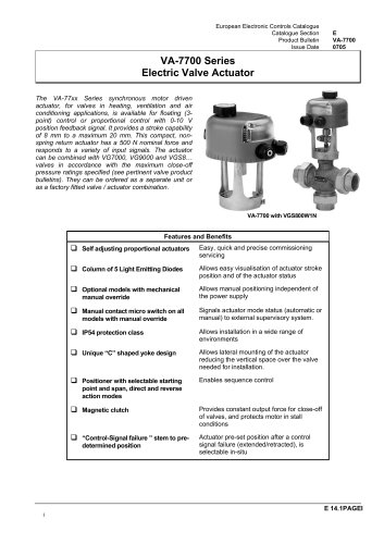 VA-7700 Series Electric valve Actuator