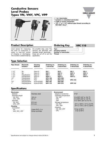 Conductive Level Sensors VPP105
