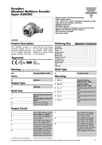 Encoders Absolute Multiturn Encoder Types A58CM3