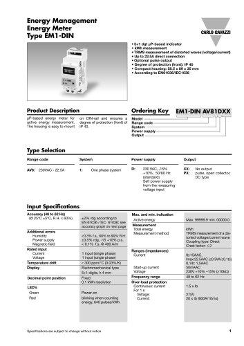 Energy Management Energy Meter Type EM1-DIN
