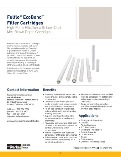 Fulfl o® EcoBond? Filter Cartridges