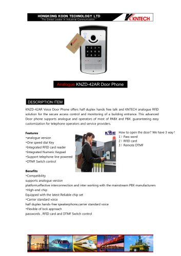 Analogue doorphone RFID Card Audio Intercom KNZD-42AR